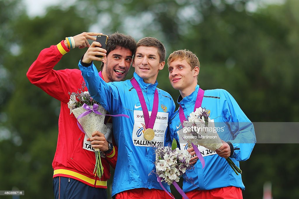 Alvaro Martin Nikolay Markov and Pavel Pashin pose for a selfie with The Men's 20km Race Walk medals on day three of the European Athletics U23...