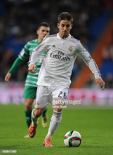 Alvaro Medran of Real Madrid in action during the Copa Del Rey Round of 32 Second Leg match between Real Madrid CF and Cornella at Santiago Bernabeu...