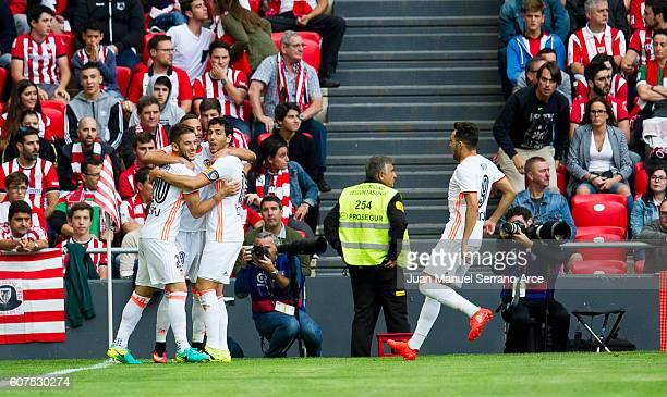 Alvaro Medran of Valencia CF celebrates after scoring goal during the La Liga match between Athletic Club Bilbao and Valencia CF at San Mames Stadium...