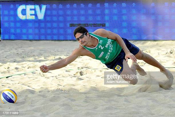 Alvaro Morais Filho of Brazil misses the ball during the men's final match between the Netherlands and Brazil during Day 7 of the FIVB World...