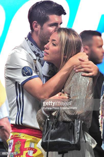 Alvaro Morata and Alice Campello celebrate during the Real Madrid celebration the day after winning the 12th UEFA Champions League Final at Santiago...