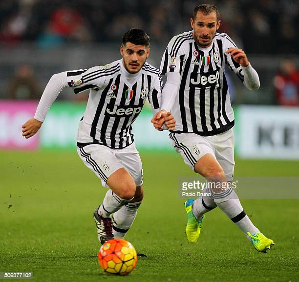 Alvaro Morata and Giorgio Chiellini of Juventus FC in action during the TIM Cup match between SS Lazio and Juventus FC at Stadio Olimpico on January...