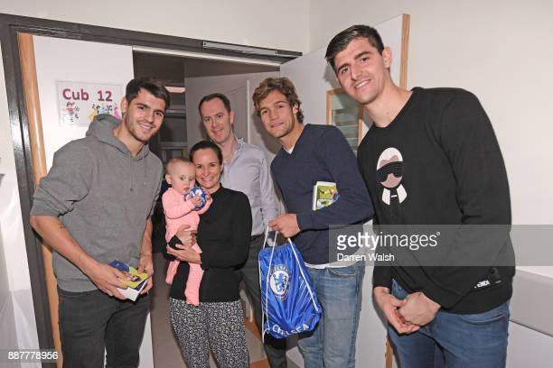 Alvaro Morata Marcos Alonso Thibaut Courtois of Chelsea at the Chelsea and Westminster Hospital on December 7 2017 in London England