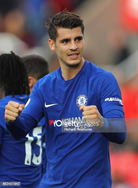 Alvaro Morata of Chelea celebrates during the Premier League match between Stoke City and Chelsea at Bet365 Stadium on September 23 2017 in Stoke on...