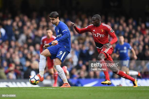 Alvaro Morata of Chelsea and Abdoulaye Doucoure of Watford battle for the ball during the Premier League match between Chelsea and Watford at...