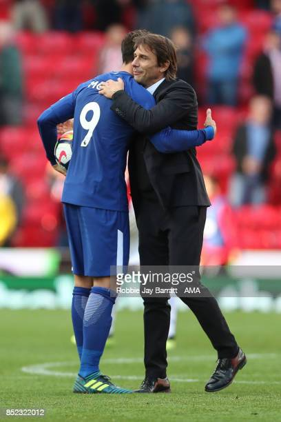 Alvaro Morata of Chelsea and Antonio Conte manager of Chelsea at full time during the Premier League match between Stoke City and Chelsea at Bet365...