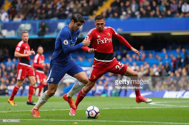 Alvaro Morata of Chelsea and Jose Holebas of Watford during the Premier League match between Chelsea and Watford at Stamford Bridge on October 21...