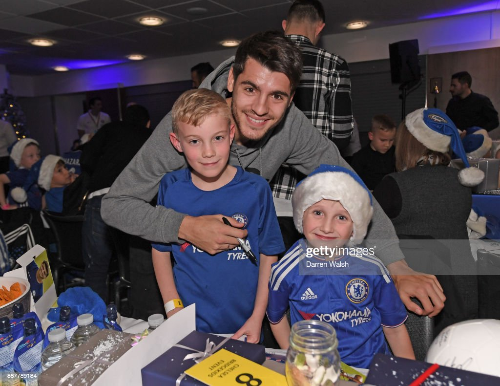 Alvaro Morata of Chelsea at the Chelsea FC kids Christmas party December 7, 2017 in London, England.