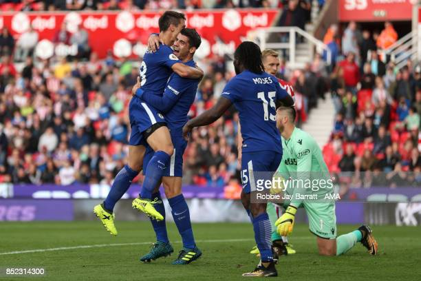 Alvaro Morata of Chelsea celebrates after scoring a goal to make it 04 during the Premier League match between Stoke City and Chelsea at Bet365...