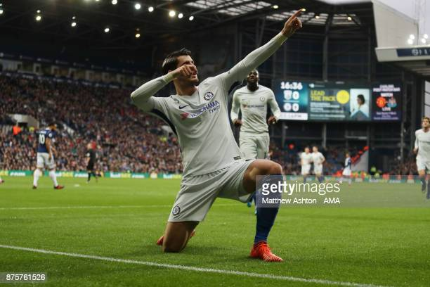 Alvaro Morata of Chelsea celebrates after scoring a goal to make it 01 during the Premier League match between West Bromwich Albion and Chelsea at...