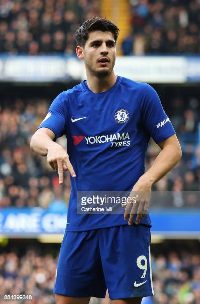 Alvaro Morata of Chelsea celebrates after scoring his sides second goal during the Premier League match between Chelsea and Newcastle United at...