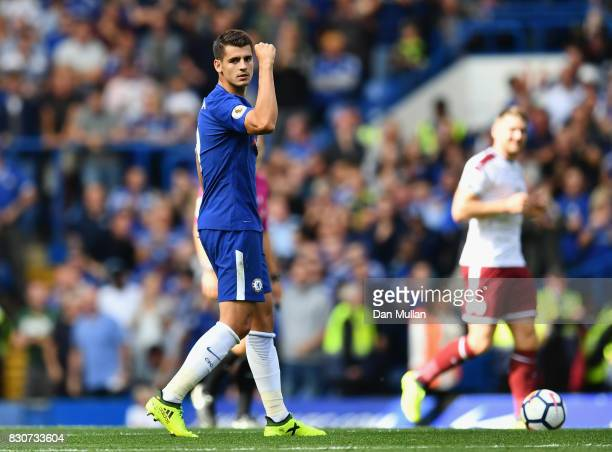 Alvaro Morata of Chelsea celebrates scoring his sides first goal during the Premier League match between Chelsea and Burnley at Stamford Bridge on...