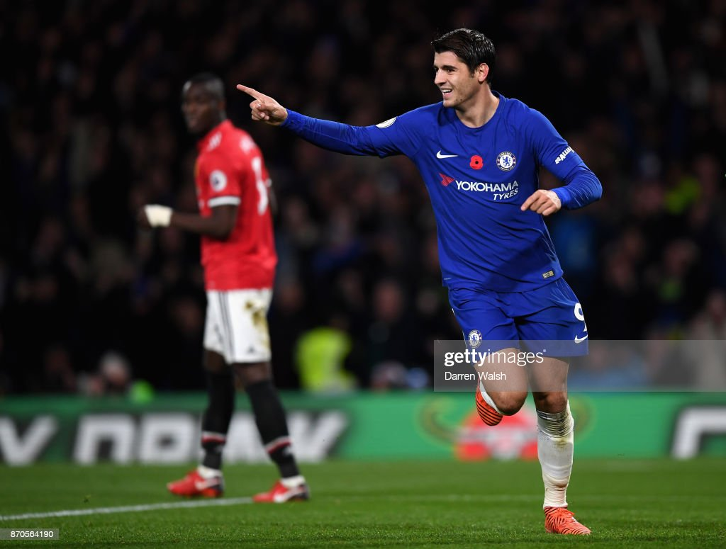 Alvaro Morata of Chelsea celebrates scoring his sides first goal during the Premier League match between Chelsea and Manchester United at Stamford Bridge on November 5, 2017 in London, England.