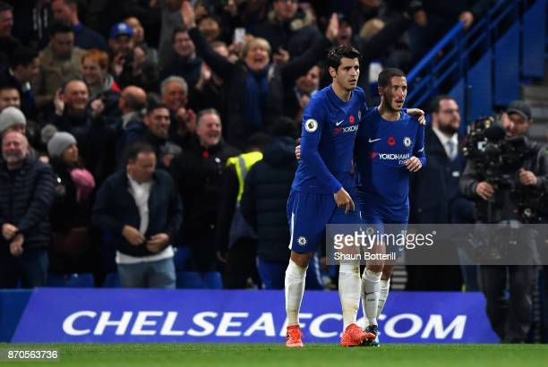 Alvaro Morata of Chelsea celebrates scoring his sides first goal with Eden Hazard of Chelsea during the Premier League match between Chelsea and...