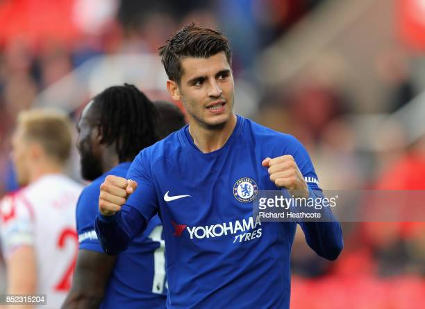 Alvaro Morata of Chelsea celebrates scoring his sides fourth goal during the Premier League match between Stoke City and Chelsea at Bet365 Stadium on...
