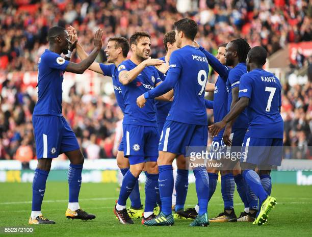 Alvaro Morata of Chelsea celebrates scoring his sides fourth goal with his team mates during the Premier League match between Stoke City and Chelsea...