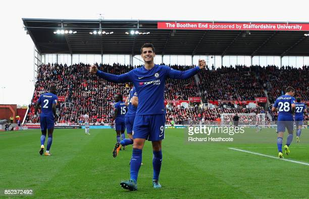 Alvaro Morata of Chelsea celebrates scoring his sides third goal during the Premier League match between Stoke City and Chelsea at Bet365 Stadium on...