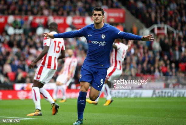 Alvaro Morata of Chelsea celebrates scoring the opening goal during the Premier League match between Stoke City and Chelsea at Bet365 Stadium on...