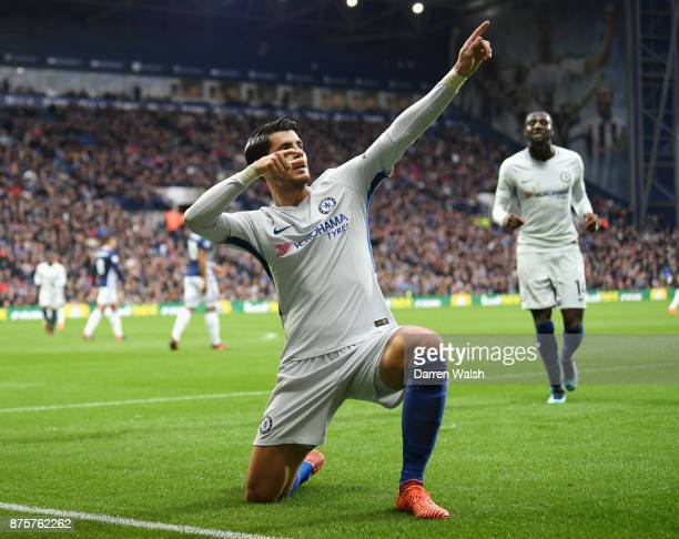 Alvaro Morata of Chelsea celebrates scoring the opening goal during the Premier League match between West Bromwich Albion and Chelsea at The...