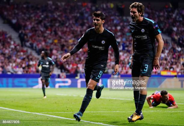 Alvaro Morata of Chelsea celebrates with Marcos Alonso of Chelsea after he scores his sides first goal during the UEFA Champions League group C match...
