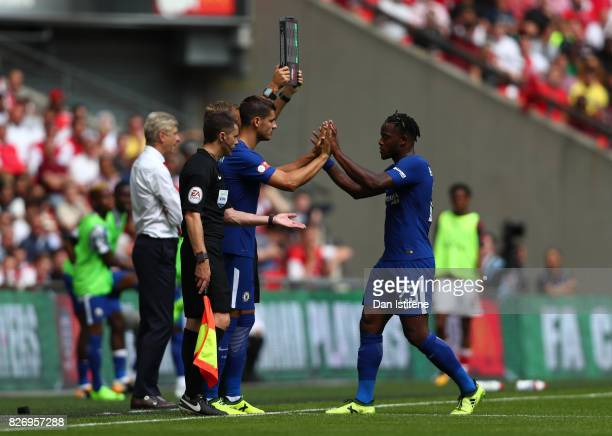Alvaro Morata of Chelsea comes on for Michy Batshuayi of Chelsea during the The FA Community Shield final between Chelsea and Arsenal at Wembley...