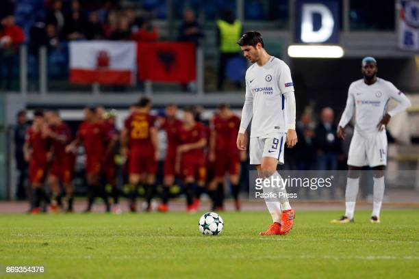 Alvaro Morata of Chelsea dejected after Roma scored a second goal during UEFA Champions League Group C soccer match between AS Roma and Chelsea FC at...