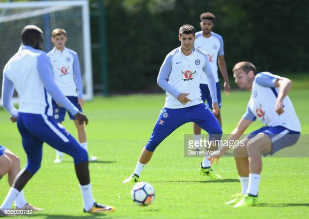 Alvaro Morata of Chelsea during a training session at Chelsea Training Ground on August 18 2017 in Cobham England