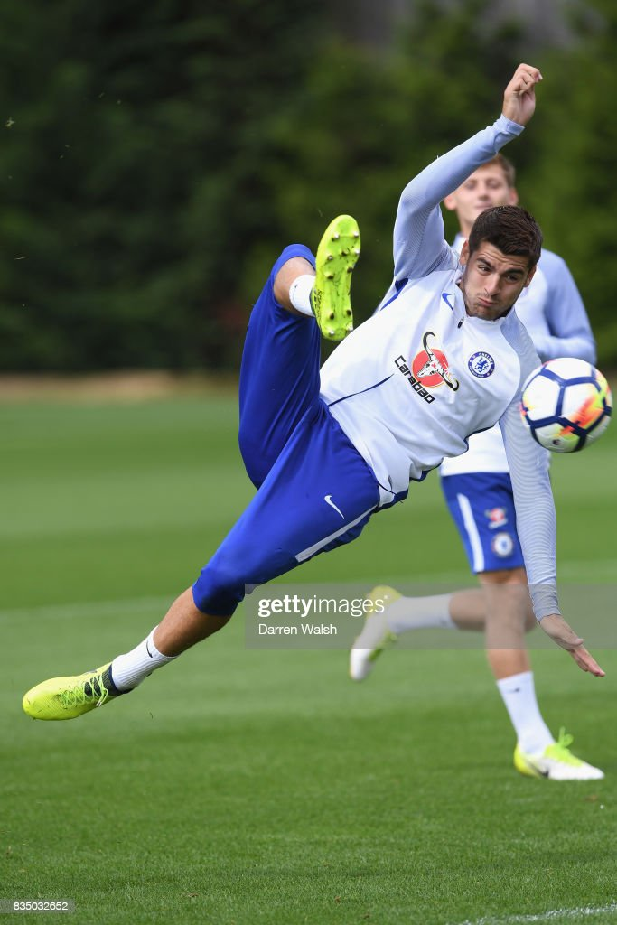 Alvaro Morata of Chelsea during a training session at Chelsea Training Ground on August 18, 2017 in Cobham, England.