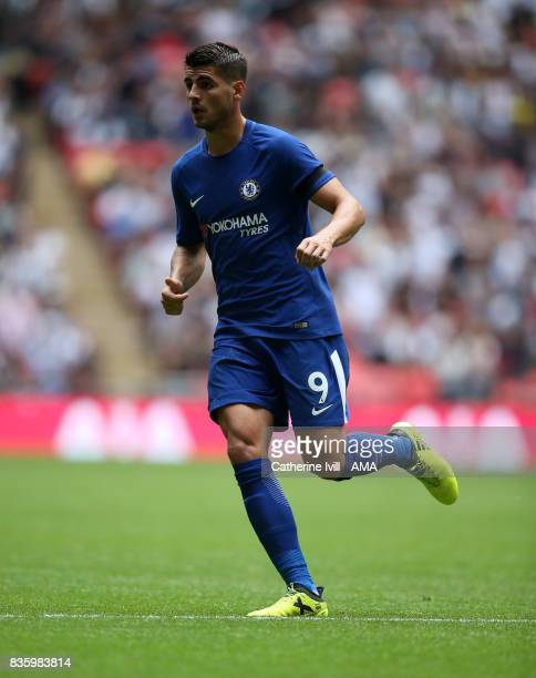 Alvaro Morata of Chelsea during the Premier League match between Tottenham Hotspur and Chelsea at Wembley Stadium on August 20 2017 in London England