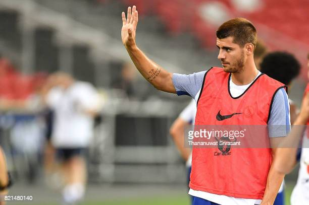Alvaro Morata of Chelsea FC acknowledges the fan during a Chelsea FC International Champions Cup training session at National Stadium on July 24 2017...