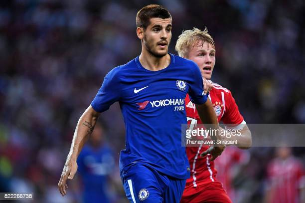 Alvaro Morata of Chelsea FC looks during the International Champions Cup match between Chelsea FC and FC Bayern Munich at National Stadium on July 25...