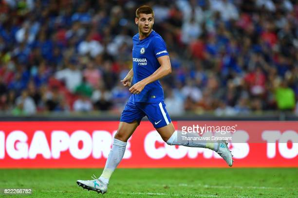Alvaro Morata of Chelsea FC runs during the International Champions Cup match between Chelsea FC and FC Bayern Munich at National Stadium on July 25...