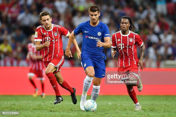 Alvaro Morata of Chelsea FC runs with the ball during the International Champions Cup match between Chelsea FC and FC Bayern Munich at National...