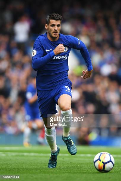 Alvaro Morata of Chelsea in action during the Premier League match between Chelsea and Arsenal at Stamford Bridge on September 17 2017 in London...