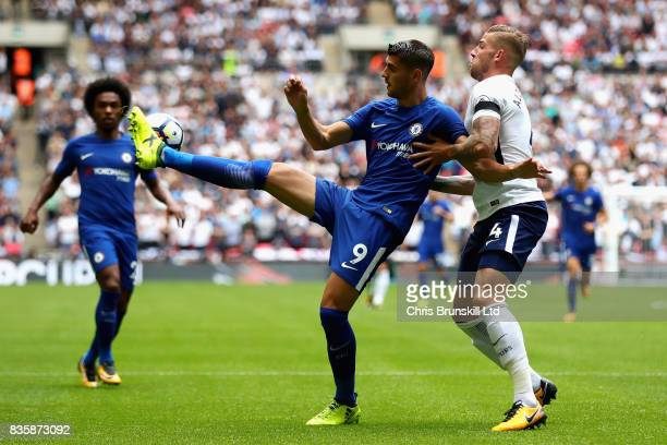 Alvaro Morata of Chelsea is challenged by Toby Alderweireld of Tottenham Hotspur during the Premier League match between Tottenham Hotspur and...