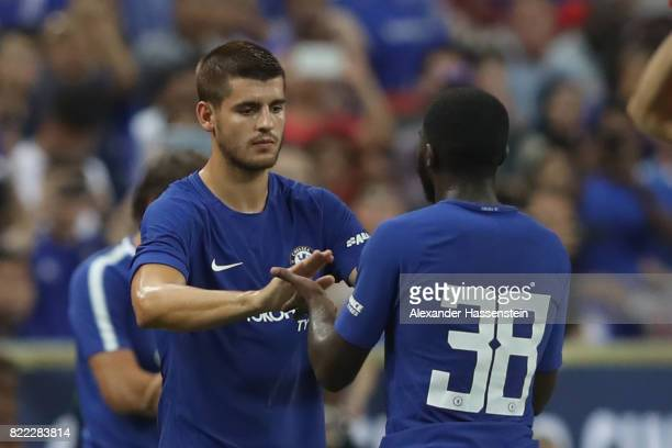 Alvaro Morata of Chelsea is substituted by Jeremie Boga during the International Champions Cup 2017 match between Bayern Muenchen and Chelsea FC at...