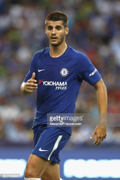 Alvaro Morata of Chelsea looks on during the International Champions Cup 2017 match between Bayern Muenchen and Chelsea FC at National Stadium on...
