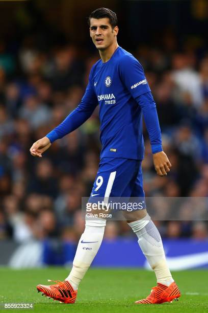 Alvaro Morata of Chelsea looks on during the Premier League match between Chelsea and Manchester City at Stamford Bridge on September 30 2017 in...