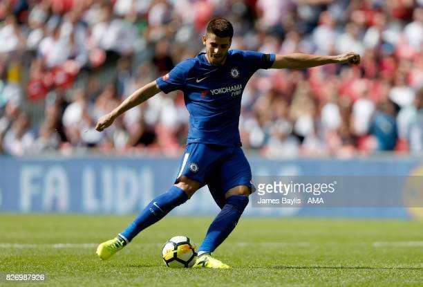 Alvaro Morata of Chelsea misses his penalty during the penalty shootout during the The FA Community Shield between Chelsea and Arsenal at Wembley...