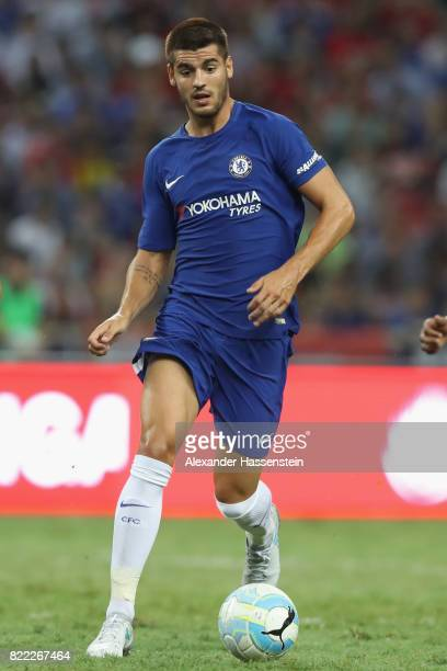 Alvaro Morata of Chelsea runs with the ball during the International Champions Cup 2017 match between Bayern Muenchen and Chelsea FC at National...