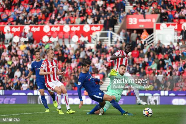 Alvaro Morata of Chelsea scores a goal to make it 04 during the Premier League match between Stoke City and Chelsea at Bet365 Stadium on September 23...