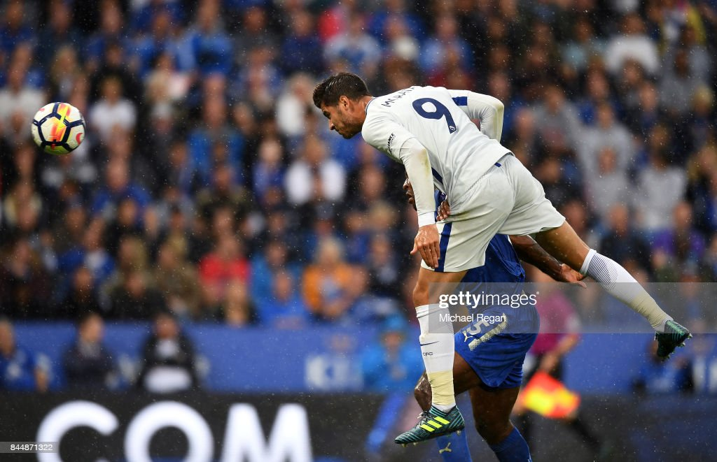 Alvaro Morata of Chelsea scores his sides first goal during the Premier League match between Leicester City and Chelsea at The King Power Stadium on September 9, 2017 in Leicester, England.