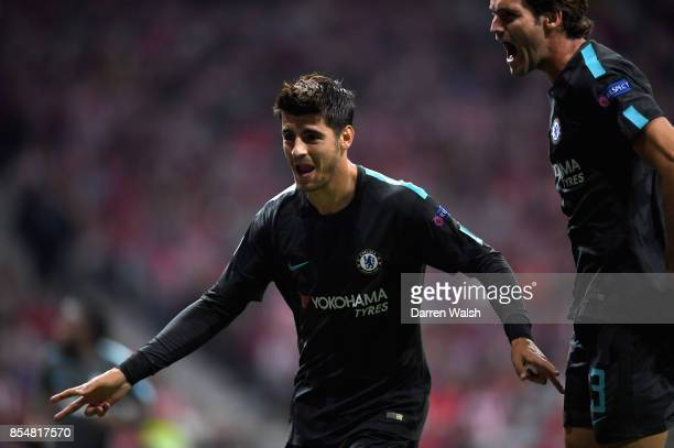 Alvaro Morata of Chelsea scores his sides first goal during the UEFA Champions League group C match between Atletico Madrid and Chelsea FC at Estadio...