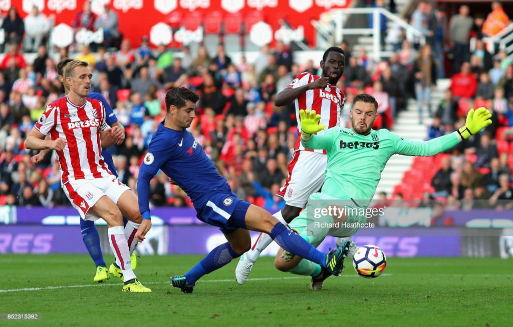 Alvaro Morata of Chelsea scores his sides fourth goal during the Premier League match between Stoke City and Chelsea at Bet365 Stadium on September 23, 2017 in Stoke on Trent, England.