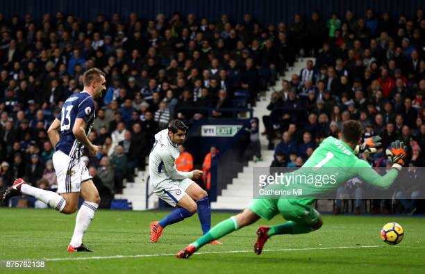 Alvaro Morata of Chelsea scores the opening goal during the Premier League match between West Bromwich Albion and Chelsea at The Hawthorns on...