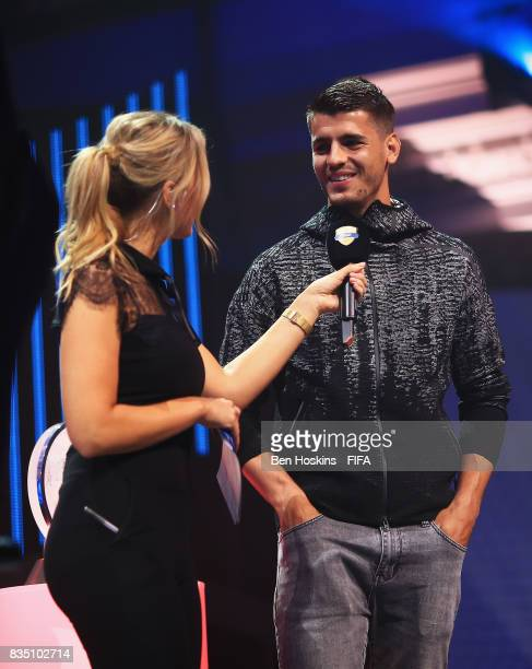 Alvaro Morata of Chelsea talks with presenter Laura Woods during day three of the FIFA Interactive World Cup 2017 Grand Final at Central Hall...