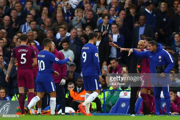 Alvaro Morata of Chelsea walks off to be subbed during the Premier League match between Chelsea and Manchester City at Stamford Bridge on September...