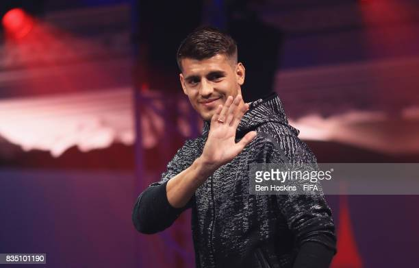 Alvaro Morata of Chelsea walks out on stage during day three of the FIFA Interactive World Cup 2017 Grand Final at Central Hall Westminster on August...