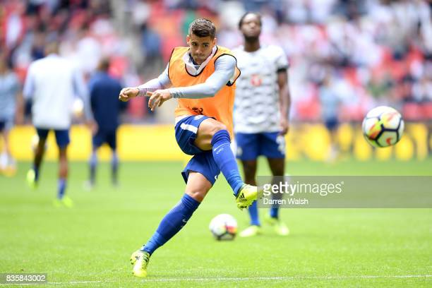Alvaro Morata of Chelsea warms up prior to the Premier League match between Tottenham Hotspur and Chelsea at Wembley Stadium on August 20 2017 in...