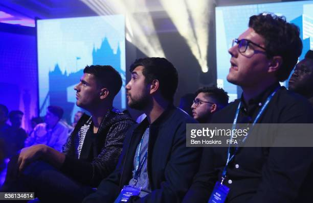 Alvaro Morata of Chelsea watches during day three of the FIFA Interactive World Cup 2017 Grand Final at Central Hall Westminster on August 18 2017 in...